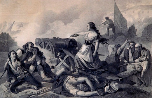Agustina disparando el cañón contra el ejército francés
