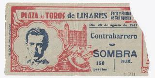 Ticket de entrada de su ultima corrida en  Linares (Jaén)