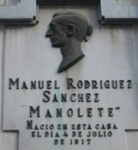 """Placa en la casa natal de """"Manolete"""""""