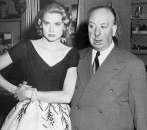 Con el director de cine Alfred Hitchcok