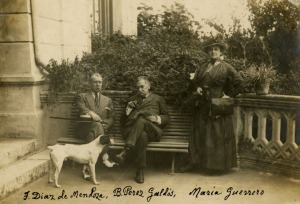 Perez Galdós con la actriz María Guerrero y su esposo, el actor Fernando Díaz de Mendoza, en la finca de San Quintín (Cantabria).
