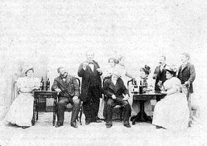 """Escena del estreno de """"La de San Quintín"""" (1894)"""