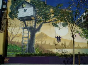 Mural pintado en el solar donde existió la