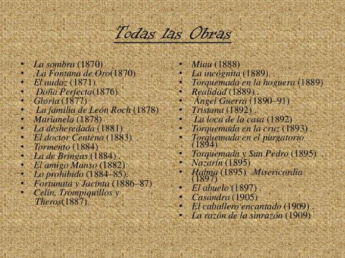 Sus obras literarias.