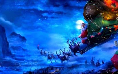 Papá Noel con su trineo tirado por nueve renos.