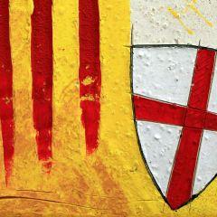 Senyera de Catalunya con el escudo de Sant Jordi.