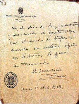 El ultimo parte de guerra publicado por Francisco Franco.