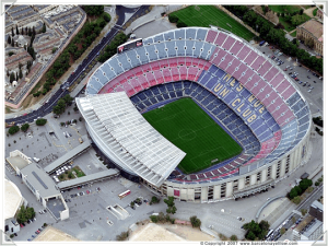 Vista aérea del Camp Nou (Estadio del Fútbol Club Barcelona).