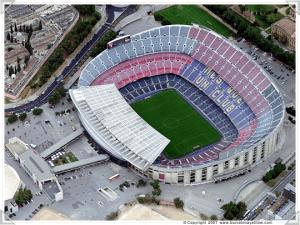 Vista aérea del Camp Nou (Estadio del Fútbol Club Barcelona).
