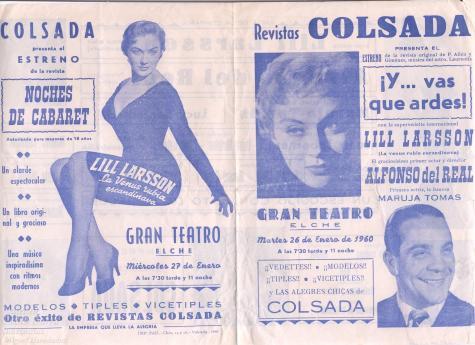 Programa del espectáculo de Colsada en una gira por Levante, con Alfonso del Real y Maruja Tomás.