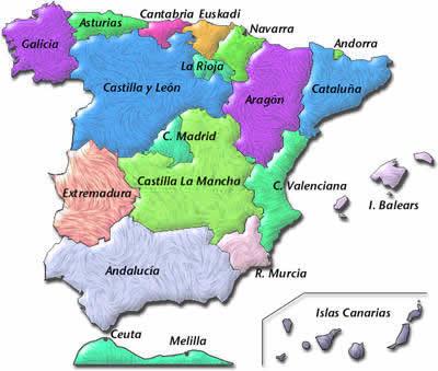 Ubicación de Extremadura en el mapa de España.