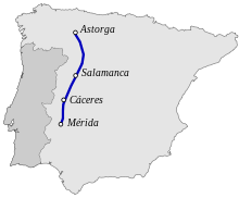 Vía de la Plata, (su recorrido era de 470 km entre Augusta Emérita, Mérida, y Asturica Augusta, Astorga)