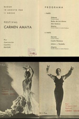 Programa de la última actuación de Carmen el 18 de agosto de 1963 en Begur (Girona)