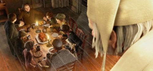 Su empleado Bob Cratchit celebrando con su familia la Navidad.