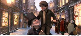 Scrooge con el pequeño Tim.