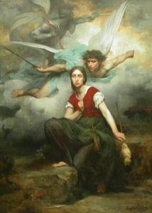 Juana recibiendo el mensaje del arcángel San Miguel (Eugene Thirion, 1876)