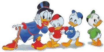 Los sobrinos de Donald, Juanito, Jorgito y Jaimito, con el tío Gilito
