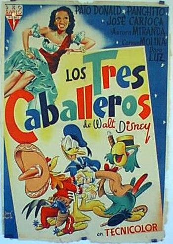 """"""" Los tres caballeros"""" con Panchito, Donald y José Carioca."""