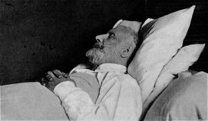 Julio Verne en su lecho de muerte.