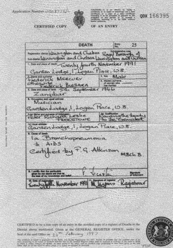 Certificado de defunción de Freddie.